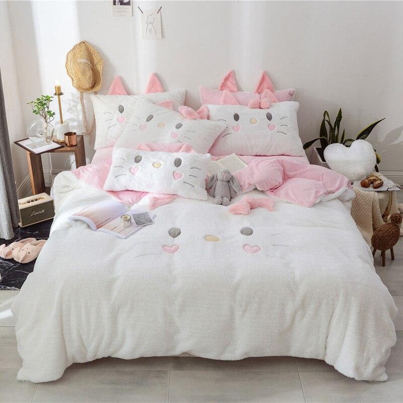 화이트 핑크 그레이 겨울 두꺼운 플란넬 러블리 고양이 bowknot 소녀 침구 세트 양털 패브릭 이불 커버 침대 시트/린넨 pillowcases-에서침구 세트부터 홈 & 가든 의  그룹 1