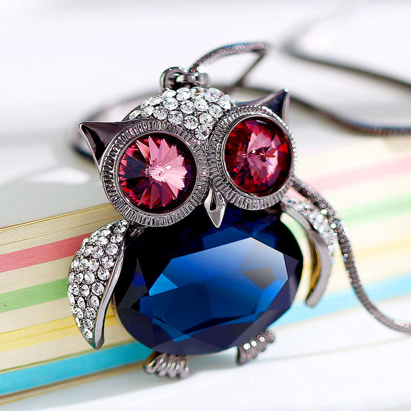 Fine Jewelry And Hung Owl Sweater Necklace Pendant Female Fashion Crystal Decoration Clothes Accessories