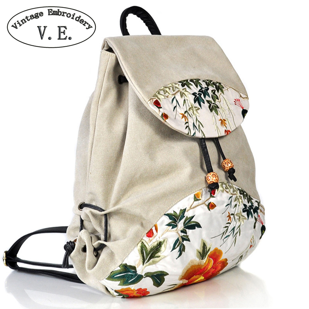 Vintage Embroidery Women Backpack Floral Embroidered Backpack Canvas Shoulder Bag Travel Rucksack Schoolbag Woman Mochila victorian america and the civil war