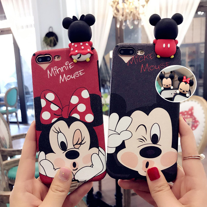 3D Cartoon Mickey Minnie Cases For iPhone 6 6S 8 Plus X Case For iPhone 7 7Plus Soft TPU Plastic Silk Back Cover Capa Funda