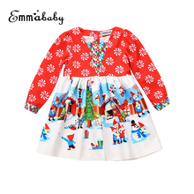 Little Girls Stylish Xmas Dress Toddler Baby Infant Girls Santa Snowman Printing Christmas Dresses Cartoon Dress Clothing