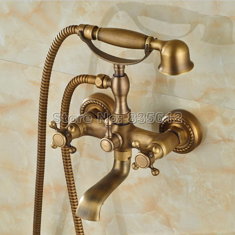Wall Mounted Retro Antique Brass Dual Cross Handle Bathroom Tub Faucet Set with Handheld Shower Heads Wtf351 antique red copper handheld shower head bath tub mixer tap wall mounted bathroom dual cross handles faucet wtf803