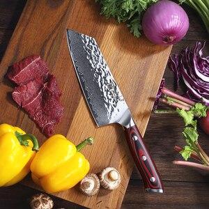 """Image 2 - Sunnecko 7 """"di Damasco Coltello Mannaia Giapponese AUS10 Anima In Acciaio Martello Lama G10 Maniglia Da Cucina Chef di Cucina Nakiri Coltelli Da Taglio"""
