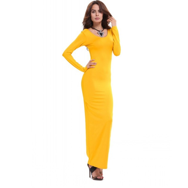 Women s Stretch Bodycon Slim Long Sleeve Maxi Dresses Club Wear Dress Hot 55343cf96334