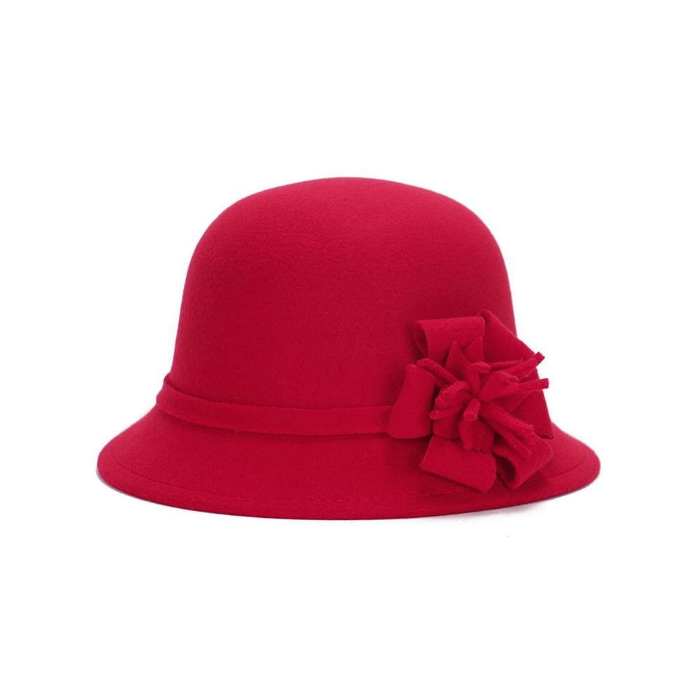 Шляпы шерстяная широкополая котелок шляпа винтажная Шляпа Fedora Регулируемый головной убор пляжная Повседневная Женская - Цвет: red