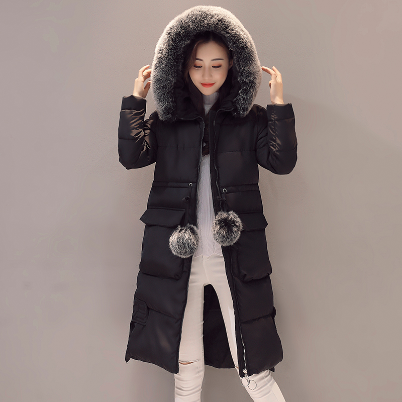 plaid down jacket with pockets 2017 High Quality Brand Ladies Winter Jacket Women  Long Warm Overcoat Women Down Parka With Pockets Female Cotton Slim Coat