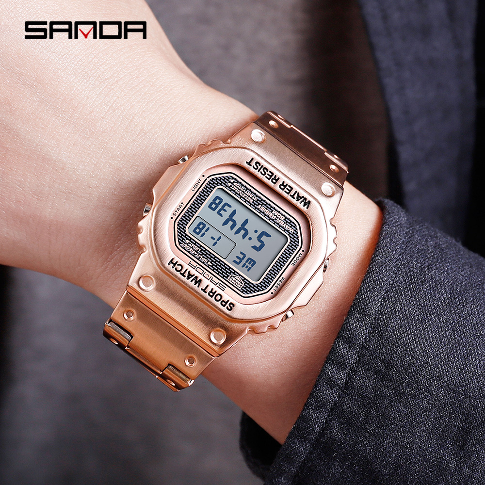 Sanda Brand Couple Watch Rose Gold Business Watch 2019 New Creative Butterfly Double Buckle Electronic Digital Wristwatch