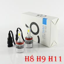 H8 H9 H11 72W 7600LM COB LED Headlight Conversion Kit All-in-one Built-in Fan 2-side Driving Fog DRL Xenon White Lamp Bulb 12/24