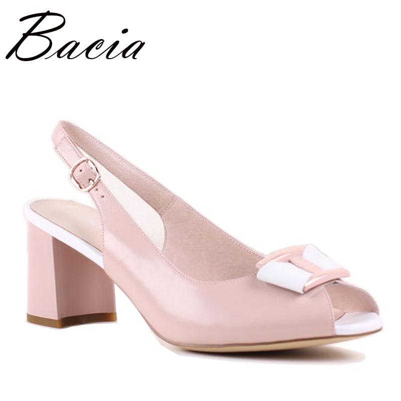 Здесь продается  Bacia New Sheep Skin Sandals Genuine Leather Metal Accessory shoes Peep toe Thick Heel Handmade Shoes For Women Size 33-42 SA032  Обувь