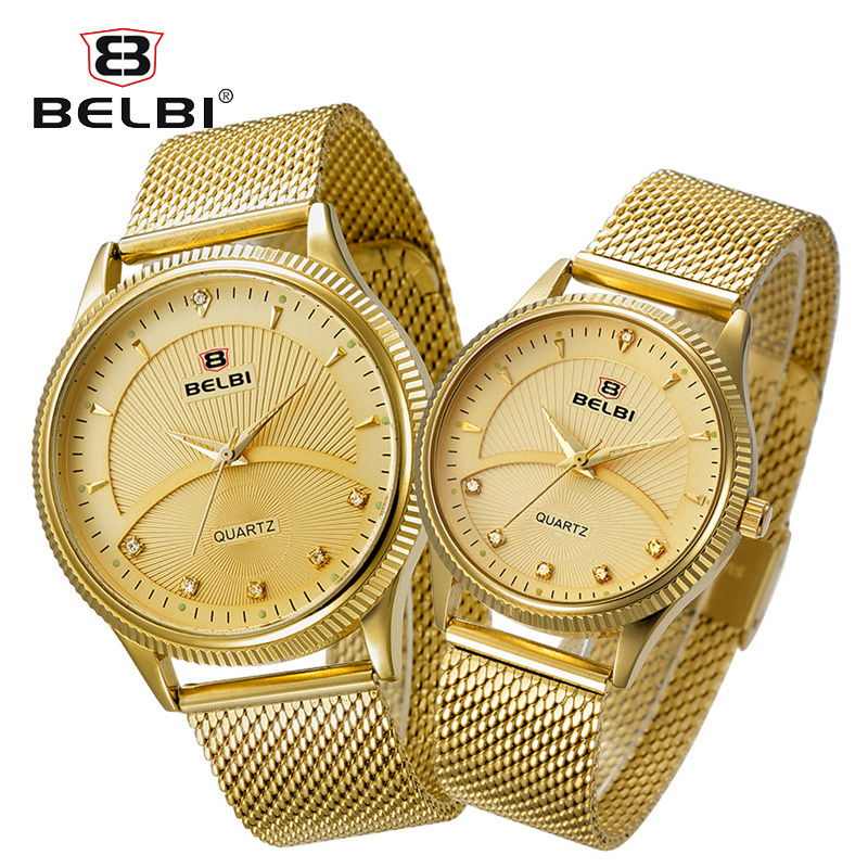 BELBI Top Brand Couples Quartz Watch Men Women Valentine Gift Clock Watches Ladies 30m Waterproof Wristwatches burei brand men women dress quartz watch new hand couples table clock real leather fashion casual wristwatches hot sale gift
