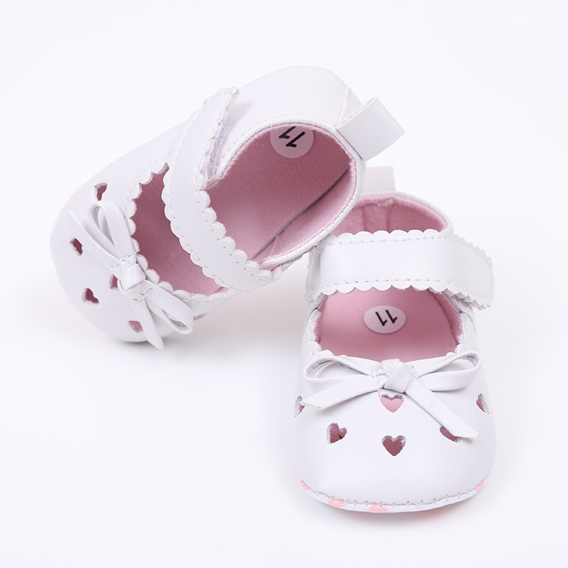 Cute Baby Girls Summer PU Leather Princess Heart-Shaped Hollow Out Mary Jane Shoes Soft Bottom Crib Babe Dress Shoes