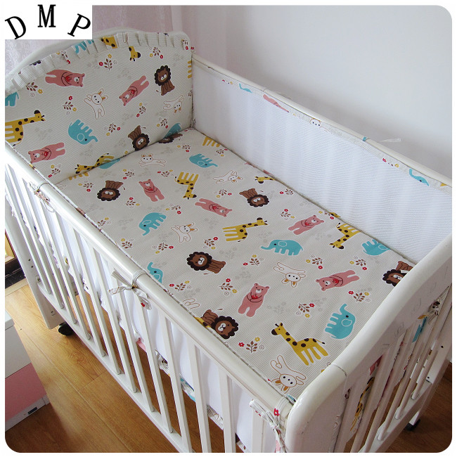 Promotion! 5PCS Mesh Baby Bedding Set Cotton Crib Bumper Baby Sets Baby Bed Arround Bumper,include(4bumpers+sheet)