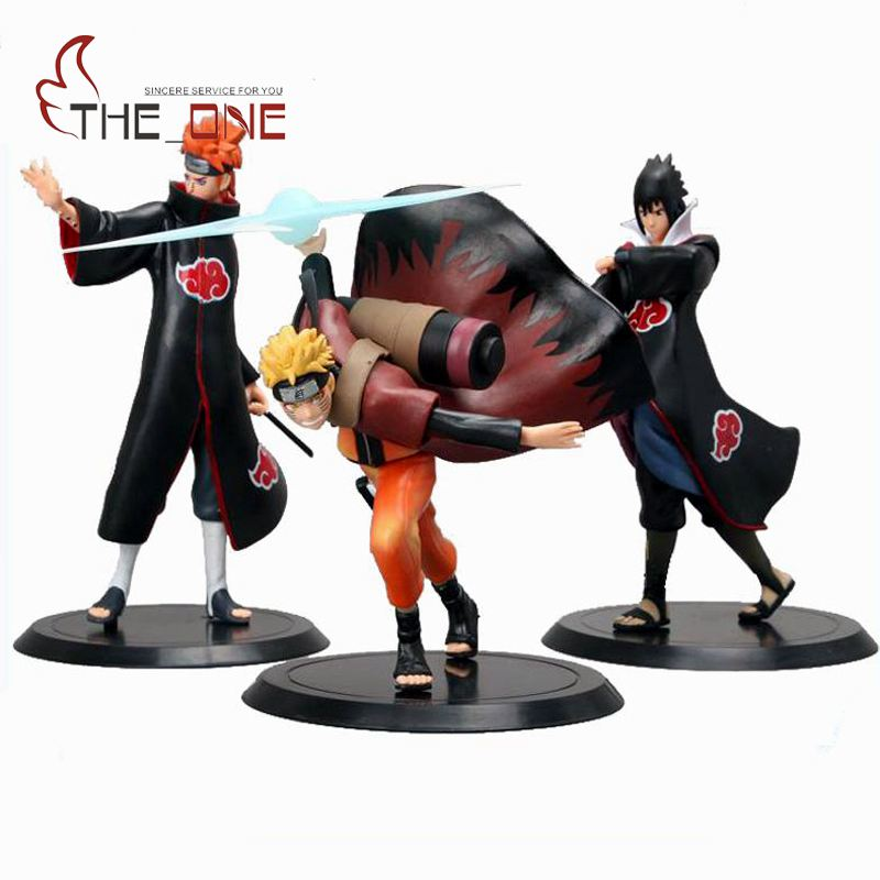 "3 Pcs/Set 15 Cm 6"" Cartoon Naruto Sasuke Pain PVC Anime"