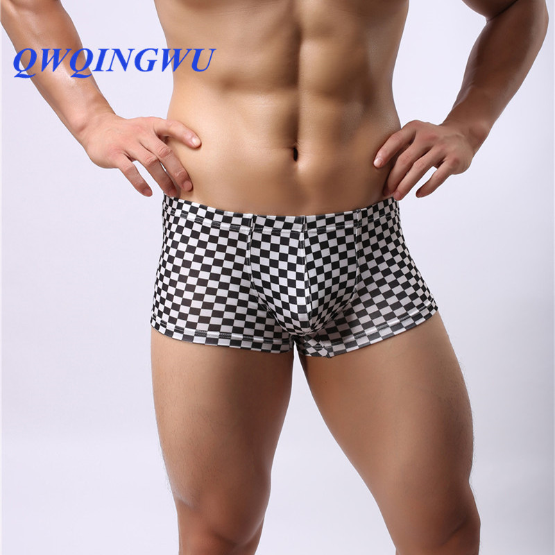 Mens Underwear Boxers Breathable Soft Plaid Shorts Homme Cuecas Masculina Homewear Fashion Underpants