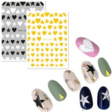 3d nail sticker Newest HAXX-52 53 golden heart design decals template DIY decoration tools for wraps