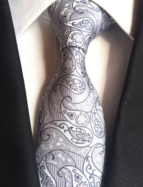 Lingyao New Design 8 cm Cinza com Luxo Paisley Tecida Gravata Laços De Casamento Dos Noivos (feito de 2400 Pontos Brilhantes Thread)