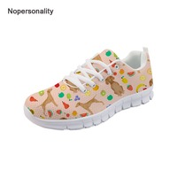 Nopersonality Breathable Floral Vizsla Dog Print Sneakers for Women Casual Female Ladies Mesh Shoes Comfortable Lace Up Flats 39