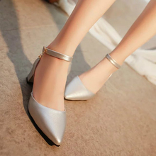 Pointed toe thick heel sandals female summer 2016 genuine leather button belt plus size shallow mouth shoes