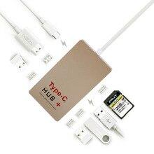Типа С USB-КОНЦЕНТРАТОР 3.1 до 4 К Порты HDMI Дисплей 2x USB3.0 SD Card Reader Адаптер Поддержка Би-направленная Зарядки для Macbook