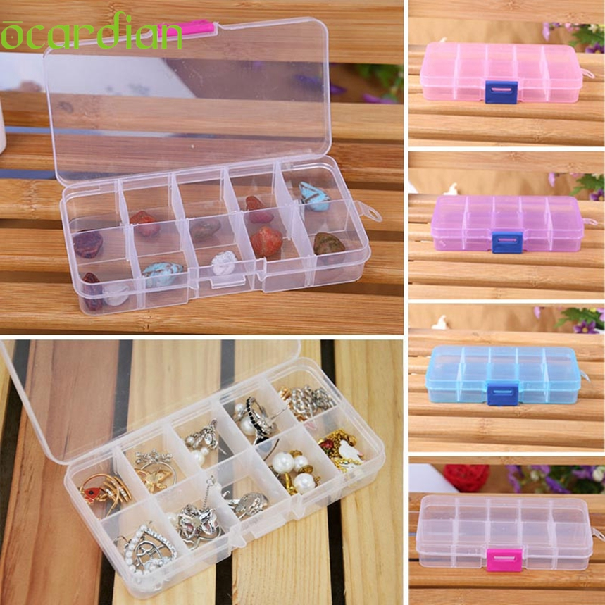 Top Grand 10 Grids Adjustable Jewelry Beads Pills Nail Art Tips Home Organize Storage Plastic Box Case 2016 New