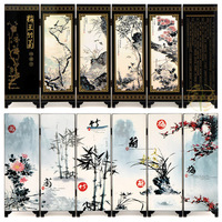 MINI Folding Screens 6 Joined Panels Decorative Painting Wood Byobu Plum Blossoms Orchid Bbamboo Chrysanthemum Four Gentlemen