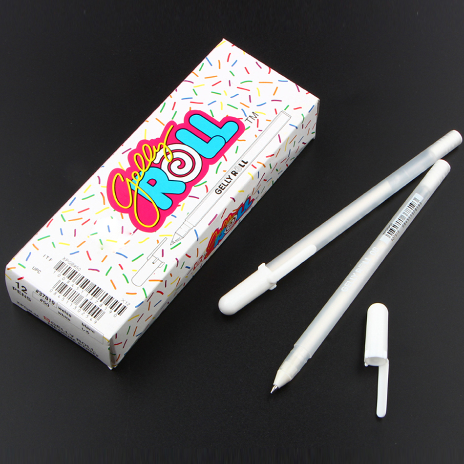 Free Shipping Japan Imported Jelly Roll 0 8mm White Gel Pen Highlight Liner For Art Marker Design Comic manga Painting Supplies in Highlighters from Office School Supplies