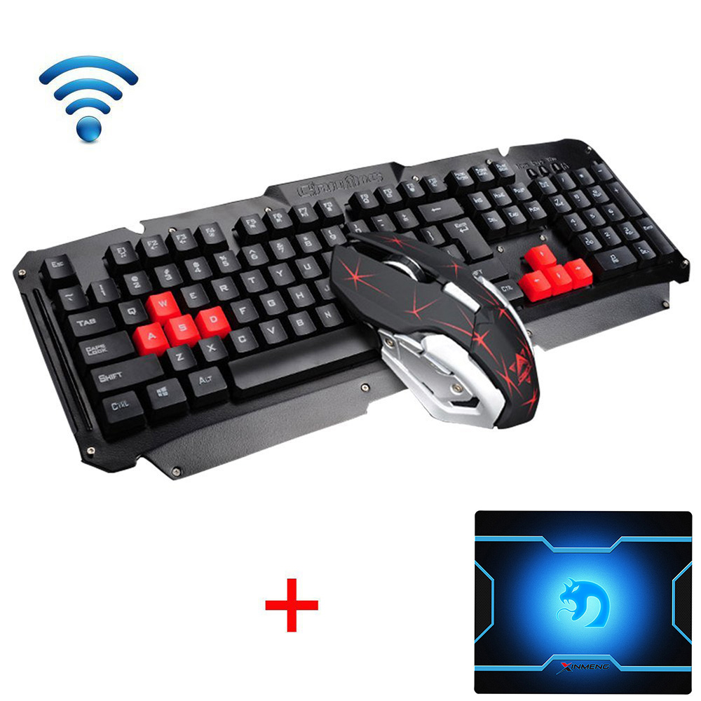 HK1600 2.4GHz Wireless Multimedia Ergonomic Usb Gaming Keyboard Metal + Optical Gamer Mouse Sets For Laptop Computer + Mouse pad binmer keyboards m938 led backlit usb ergonomic gaming keyboard gamer mouse sets mouse pad td0110 dropship