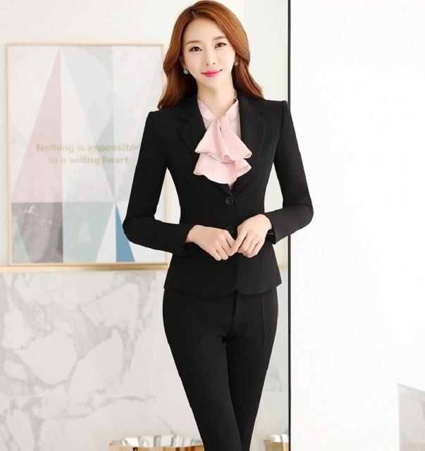655abb980 Novedad de La Manera Profesional Formal Diseño Uniforme Pantsuits Con Tops  Y Pantalones Otoño Invierno Femenina Profesional Pantalones Conjuntos en ...