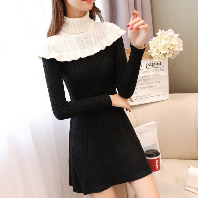 1110f52ba5e QIAOYI JIA Women Autumn New Fashion Sweater Dress Turtleneck Ruffles Patchwork  A-line Dress Long Sleeve Knitted Mini Dresses