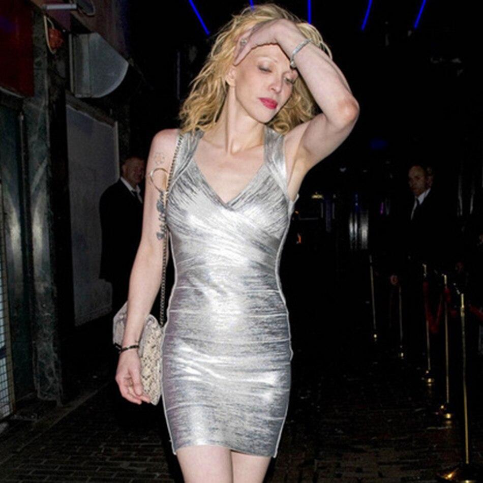 Été nouveau brillant argent feuille d'or midi bandage robe or sexy club fête robe de bal dames dos nu creux moulante Vestidos