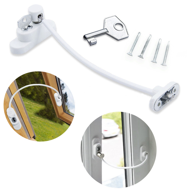 1/2/4 Pcs Window Door Restrictor Security Locking Cable Wire Child Baby Safety Lock 2018 4 x window handles lockable safety window handles white aluminium child safety lock white lockable pen length 32mm