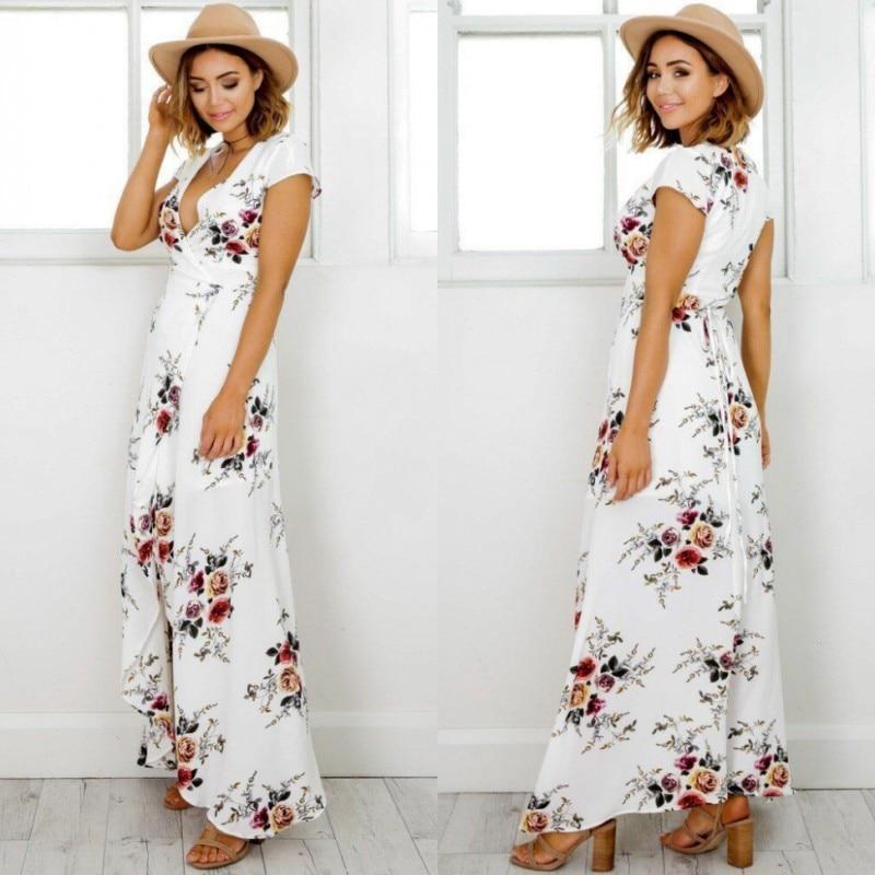 Women Boho Style Long Dress V Neck Short Sleeve Beach