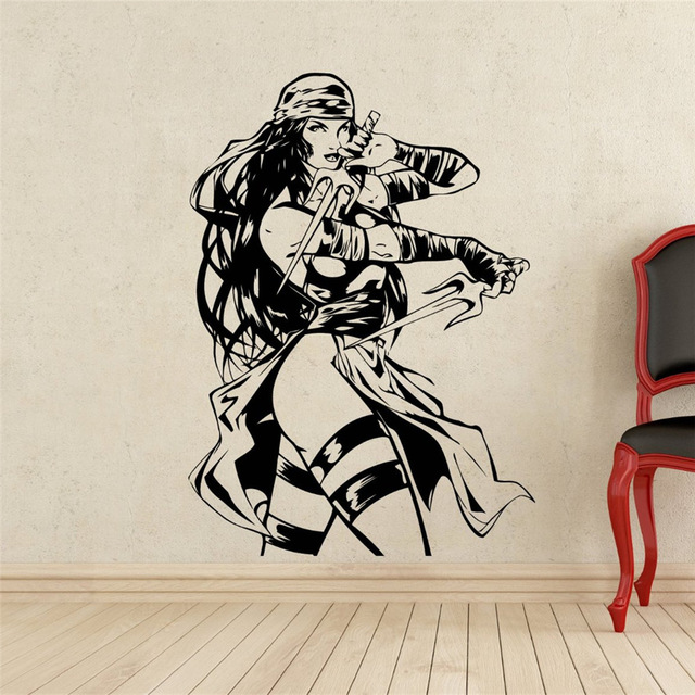 New Arrival Elektra Wall Decal Superhero Vinyl Sticker Home Art DC Marvel  Comics Wall Decor Mural
