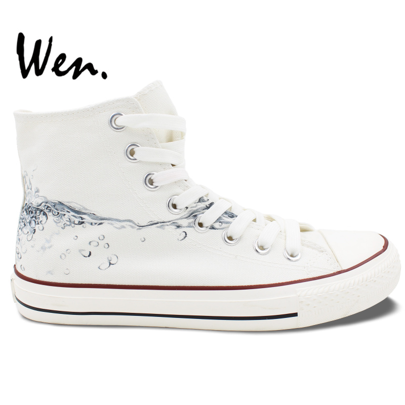 e81d65051 ون الأصلي الأبيض اليد رسمت أحذية تصميم مخصص قطرات من المياه عالية أعلى  الرجال المرأة قماش أحذية رياضية