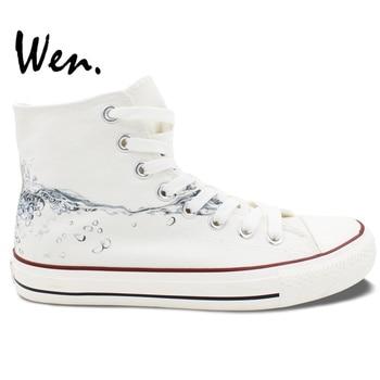 Wen Original White Hand Painted Shoes Design Custom Drops of Water High Top Men Women's Canvas Sneakers