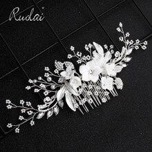 Ruolai haute qualité argent cristal mariage cheveux peigne fleur casque bijoux de mariage perlé chapeaux accessoires de mariage HD17
