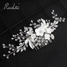 Ruolai Высокое качество Серебряный Кристалл Свадебный гребень