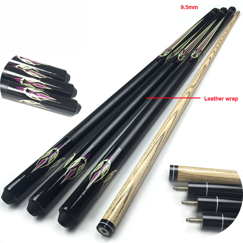 free shipping 9 5mm chinese Snooker cue sticks rubber wood 1 2 split Pool Billiards cues