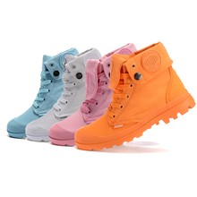 Free Shipping Palladium Canvas Boots Women Neon Color Flat Ankle Boots Shoes Fashion Girls Combat Boots Safety Shoes