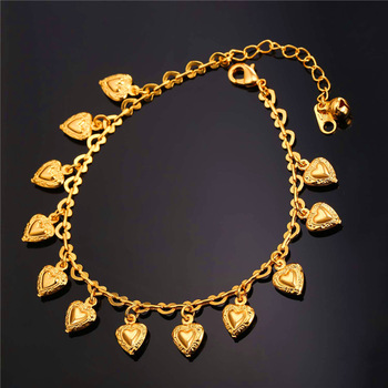 U7 Heart Charms Ankle Bracelet On Leg Gold Color Summer Jewelry Wholesale Anklet Bracelet Foot Jewelry For Women Gift A318 4