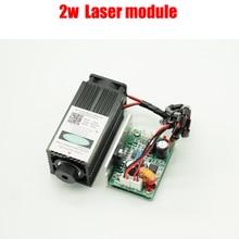 2 w de alta potencia de enfoque de láser azul 450NM TTL módulo 2000 mw módulo láser de grabado y corte láser tubo + googles