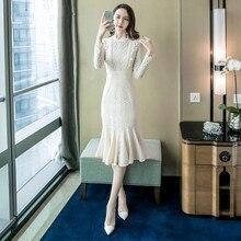 Plus Size Mermaid Dress 2018 Autumn Women Beige Long Sleeve Stand Mid-calf Elegant Wedding Lace Vintage Party Club Dresses