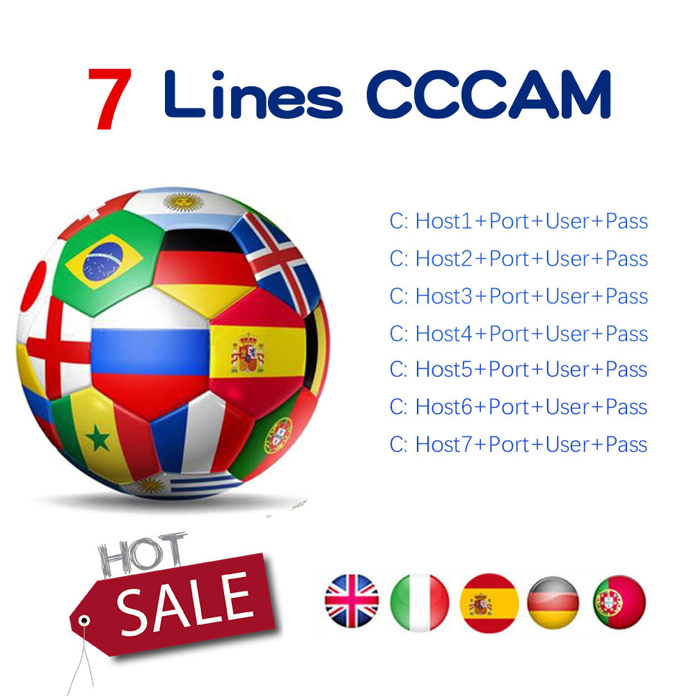 Cccam 6 Lines Full HD 1 Year Cccam Cline For Europe 7 Lines IPTV Use For Satellite TV Receiver DVB-S2 Server Hd