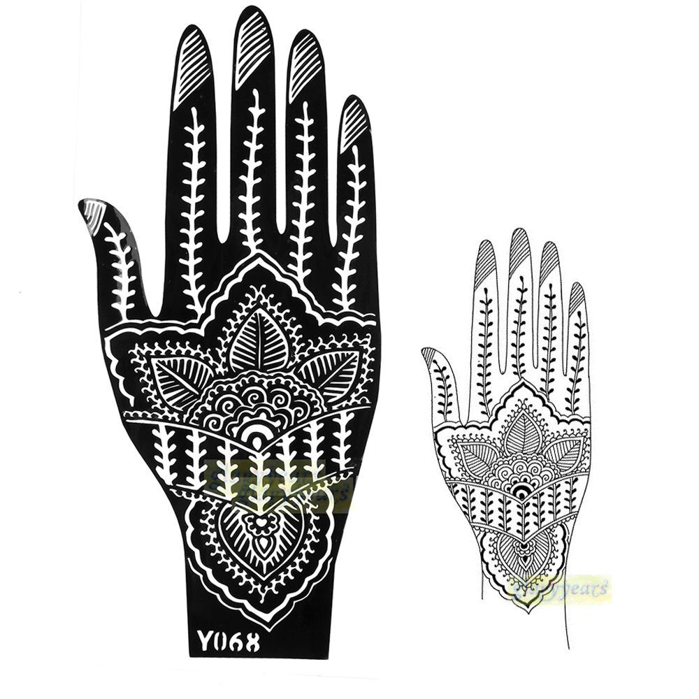 1pc Hot Large India Mehndi Henna Art Glitter Temporary Tattoo Airbrush  Stencil Women Hand Henna Art Body Art Paint Stencil Y068