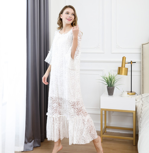yomrzl A647 New arrival summer cotton and lace women s nightgown luxury one  piece long sleep dress half sleeve sleepwear d2a7ef9d0