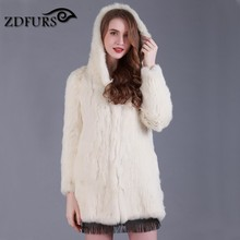 ZDFURS * New real hand made knitted rabbit fur coat with hood long style winter fur outerwear real warmer fur coat