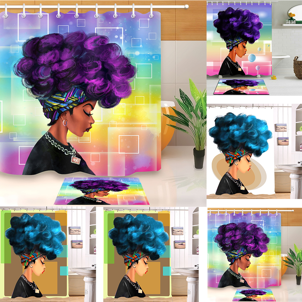 Explosive Head Afro-American Girl Shower Curtain Set Bathroom Waterproof Fabric