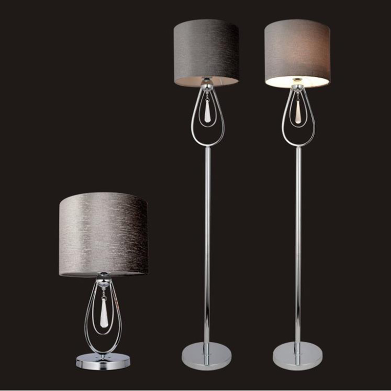 Modern minimalist LED crystal floor lamps living room bedside lights European creative LED vertical lights with fabric lampshade nordic floor lamp living room shelf modern minimalist bedroom lights vertical american creative iron bedside floor lamps