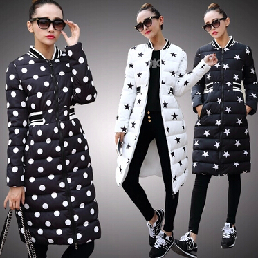 2016 Euro Stars thin style winter coat women slim stand collar down parka long winter jacket
