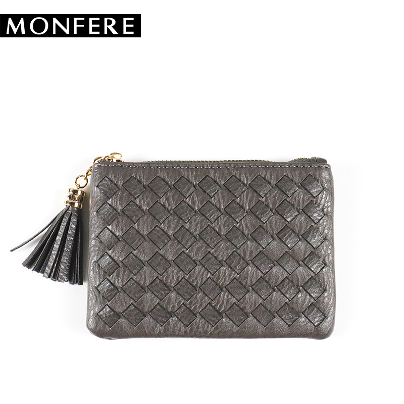 MONFER woven short mini wallet color women coin purse small key credit card money holder tassel pocket purses and handbags weave